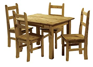 Home Discount Corona Dining Set 2 Seater Solid Pine Wood With 2 Chairs Rustic Wax Finish