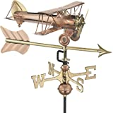 Good Directions Biplane with Arrow Garden Weathervane - Pure Copper with Garden Pole