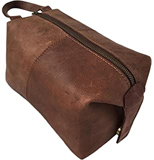 3a29d9bf5755 Amazon.com  Men s Buffalo Genuine Leather Toiletry Bag waterproof ...