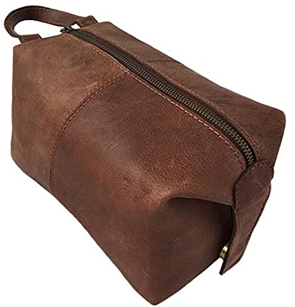 9bd9637850b9 Genuine Buffalo Leather Unisex Toiletry Bag Travel Dopp Kit