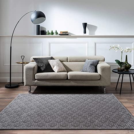 Decomall Rome Modern Geometric Abstract Stripe Pattern Area Rug Neutral Color For Living Room Family Room Bedroom