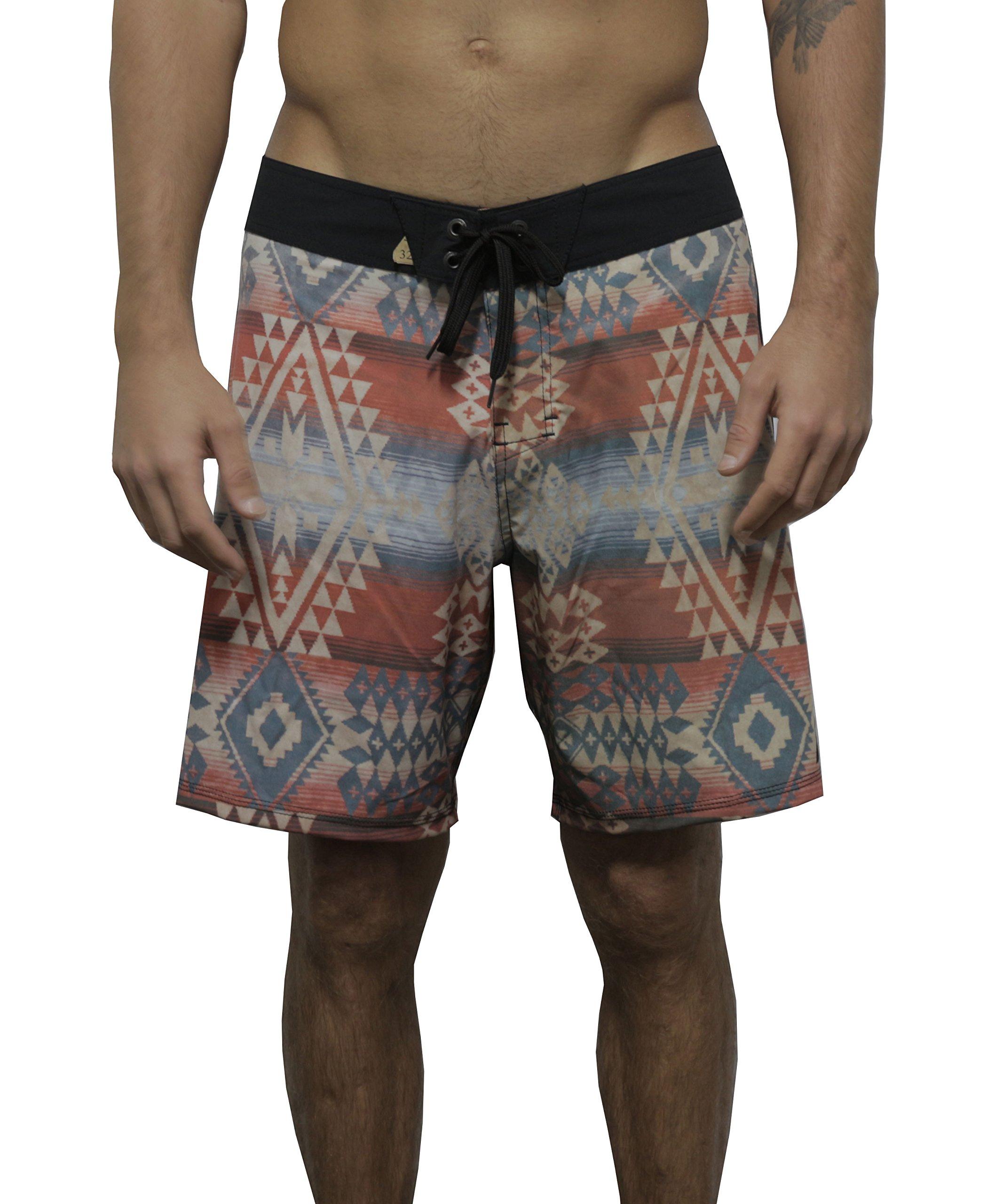 Psychodelic Men Stretch Swim Quick Dry Water Beach Summer Board Short Trunk Multicolor (34-35)