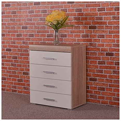Fabulous Drp Trading White Sonoma Oak Chest Of Drawer 4 Draw Bedroom Furniture Home Interior And Landscaping Ponolsignezvosmurscom