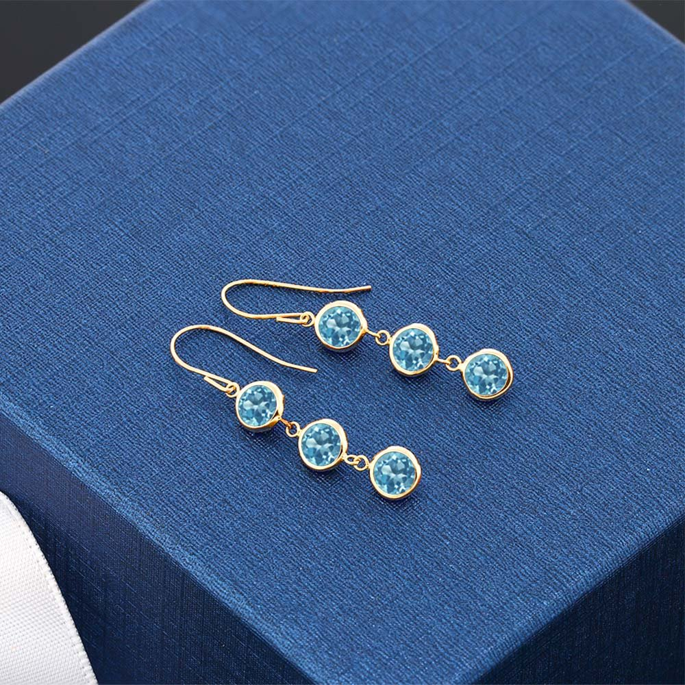 Gem Stone King 3.60 Ct Round Swiss Blue Topaz 14K Yellow Gold Bezel 1inches Dangle Women s Earrings