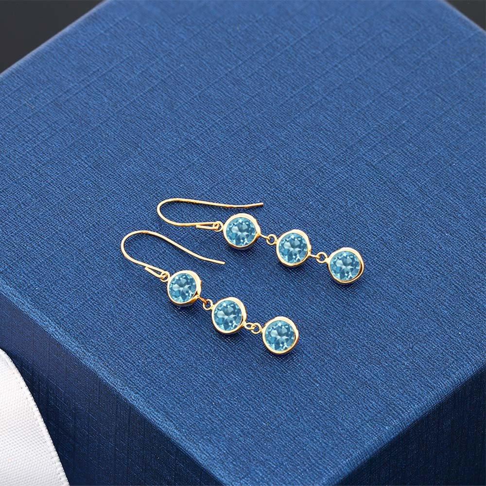 3.60 Ct Round Swiss Blue Topaz 14K Yellow Gold Bezel 1'' Dangle Women's Earrings by Gem Stone King (Image #2)