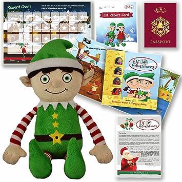 Conjunto Infantil de Juguete Suave de Elfo Niño de Aventuras de Elfos - Libro de Cuentos de Santa para Elf en la repisa, 1ra Navidad del Bebé: Amazon.es: ...