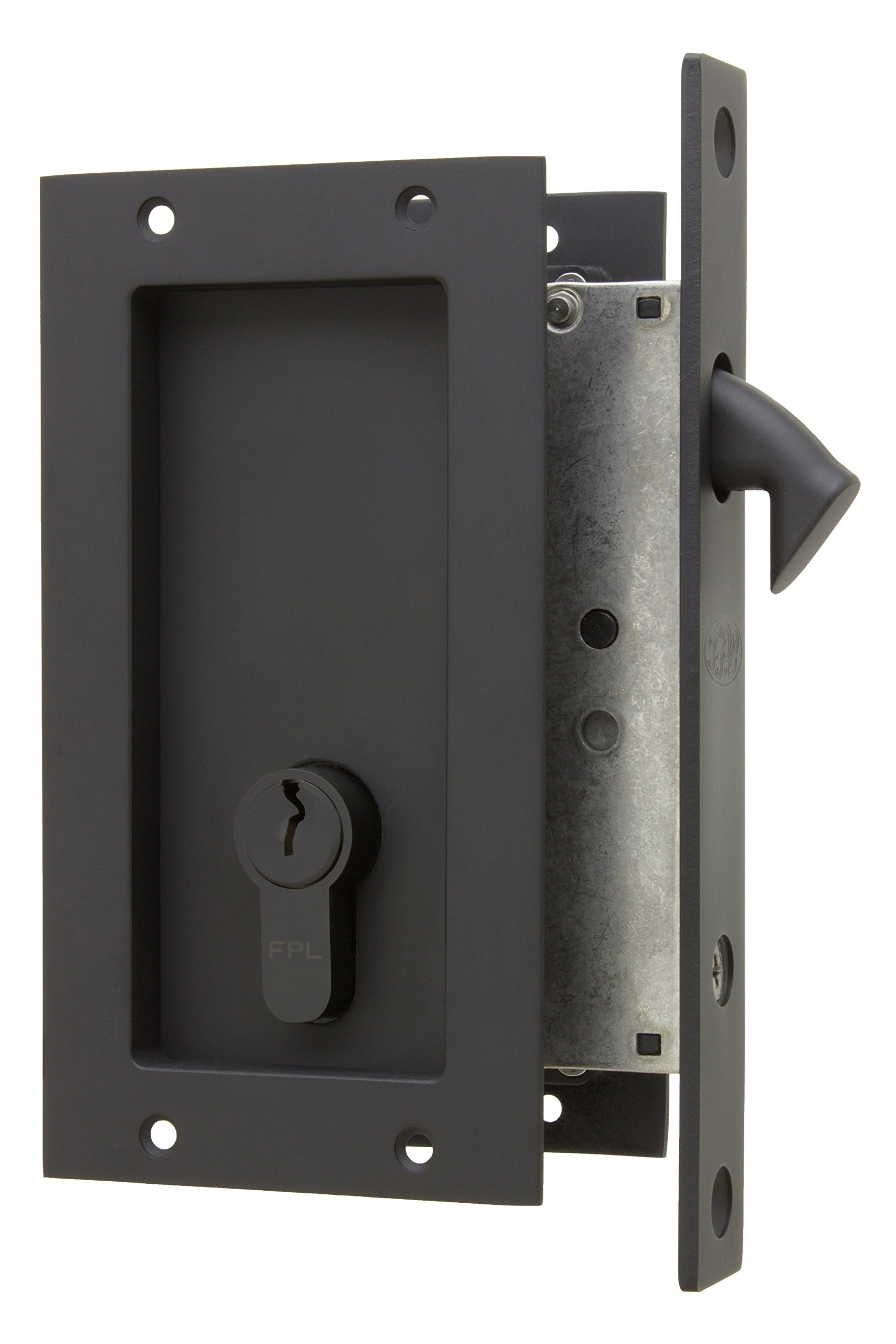 Anacapa by FPL- Solid Brass Modern Pocket Door Mortise Lock Set with Double Keyed Euro Profile Cylinder - Oil Rubbed Bronze
