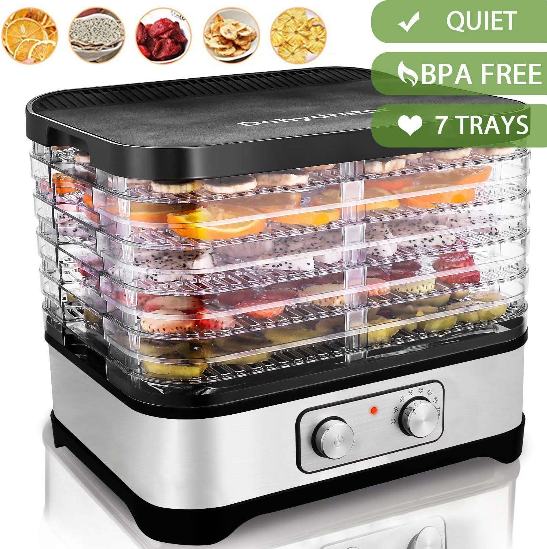 COOCHEER Deshidratador de Alimentos 250W,deshidratadora de frutas y verduras con 7 Bandejas Ajustables, Temperatura Regulable 35 °C-70 °C,para Verduras Carne Flores,sin BPA