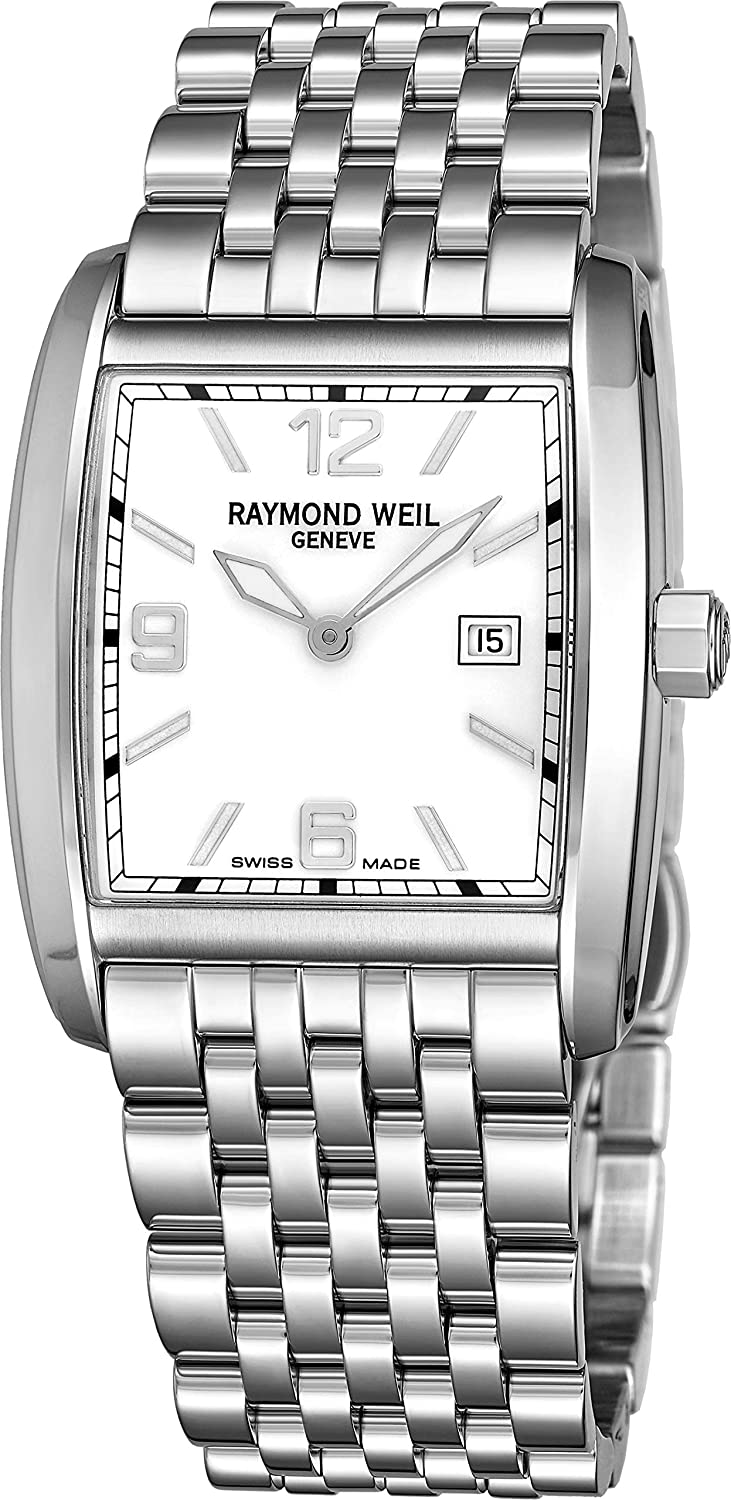 Raymond Weil Don Giovanni Womens Square All Stainless Steel Watch - Mother of Pearl Face with Luminous Hands, Date and Sapphire Crystal - Swiss Made Classic ...