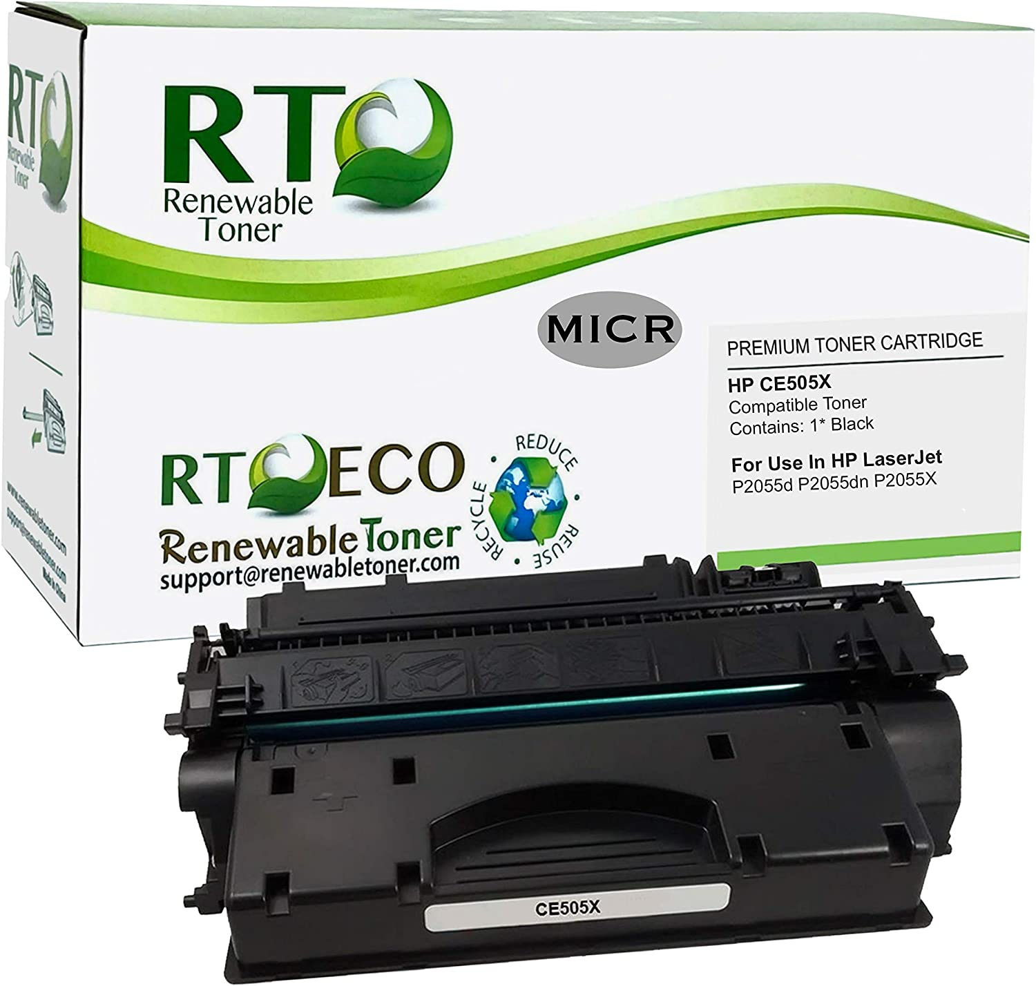 Renewable Toner Compatible MICR Toner Cartridge High Yield Replacement for HP 05X CE505X for use in LaserJet P2055