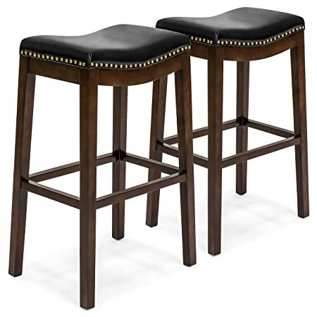 Best Choice Products Set of 2 31in Backless Counter Stool w Faux Leather Upholstery, Brass Nailhead Trim – Black
