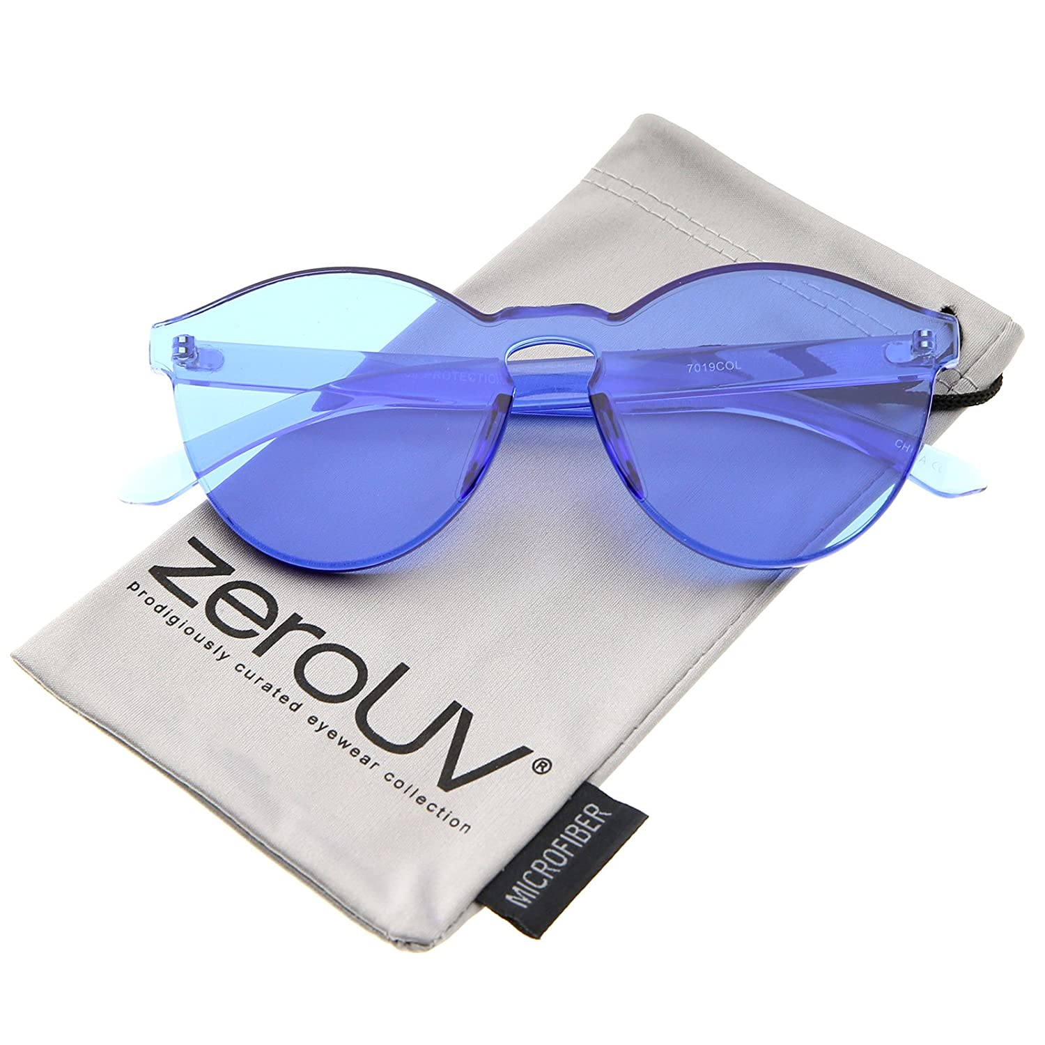 6706e5a9123 Amazon.com  One Piece PC Lens Rimless Ultra-Bold Colorful Mono Block  Sunglasses 60mm (Blue)  Clothing