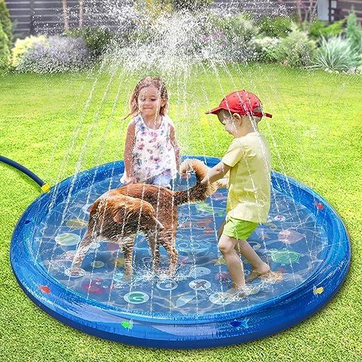 tomight Splash Pad, Tapete de Juegos de Agua 150CM Almohadilla Aspersor de Juego Agua, Inflables de Agua para Bebés, Niños Pequeños y Niños: Amazon.es: Jardín