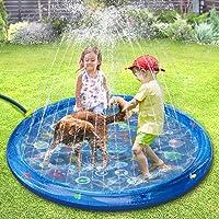 tomight Spatmat, waterspeelmat met drijvende vissen rond, opblaasbare sproeier voor kinderen in de tuin, 60 inch outdoor…