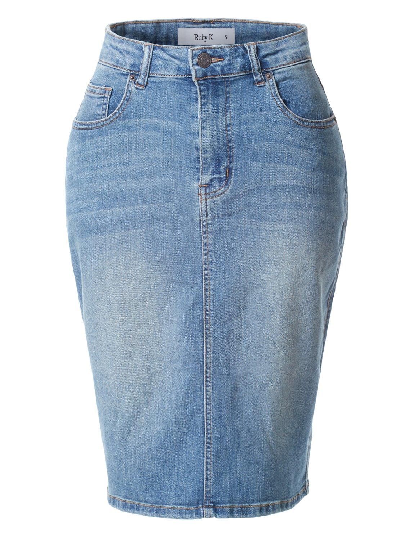 RK RUBY KARAT Womens Stretchy High Waisted Denim Pencil Midi Skirt