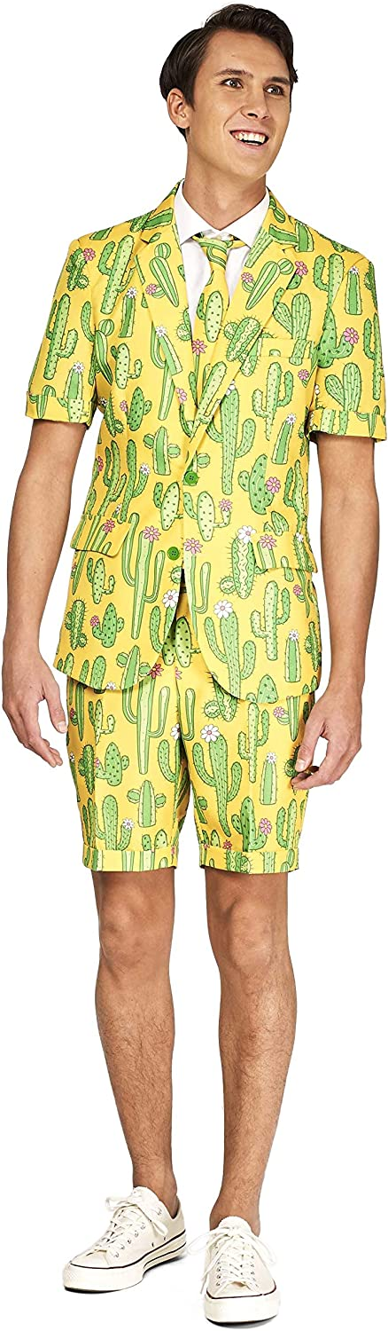 Suitmeister Men's Summer Party Suit with Fun Prints - Includes Shorts, Short-Sleeved Jacket & Tie