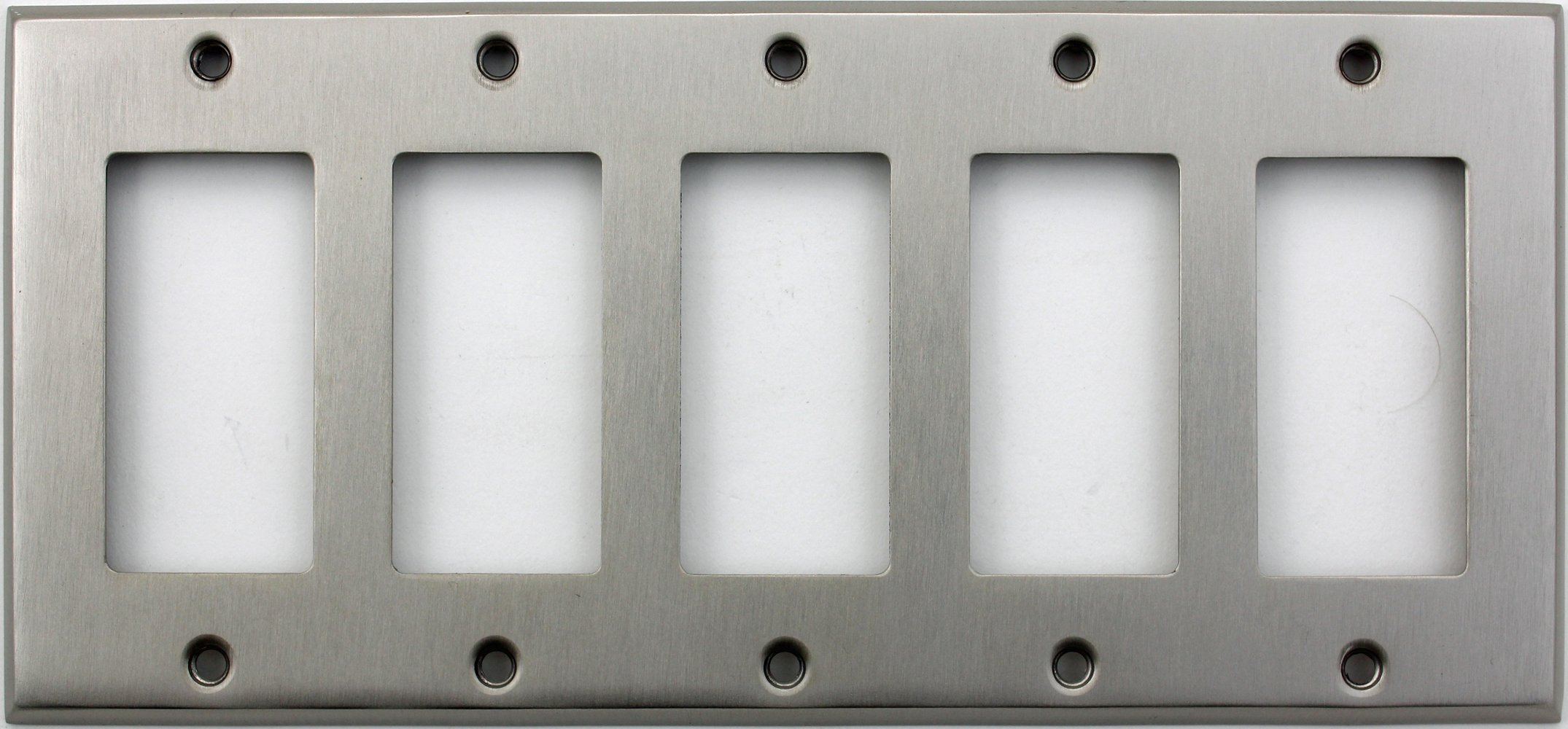 Classic Accents Stamped Steel Satin Nickel Five Gang GFI/Rocker Opening Wall Plate