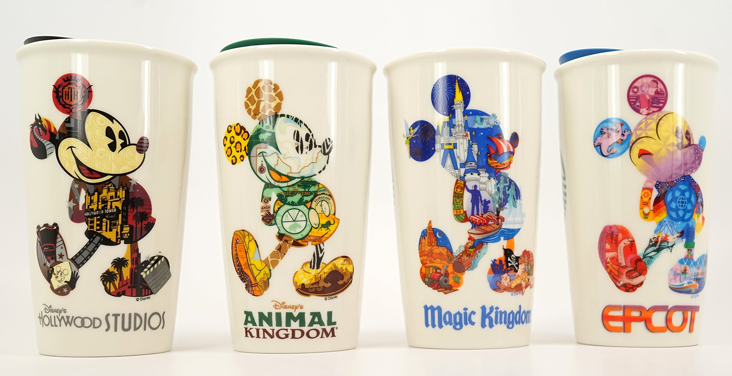 Disney Set of 4 Magic/ Animal Kingdom, EPCOT , Hollywood Starbucks Tumblers