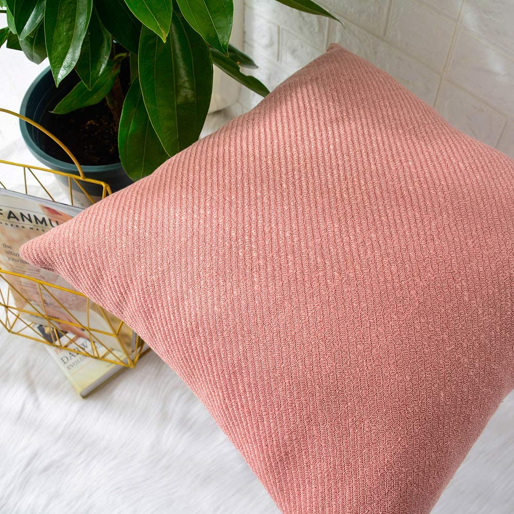 Chenille Soft Decorative Square Throw Pillow Cover Cushion Covers Pillowcase Pink MERNETTE Pack of 2 Home Decor Decorations for Sofa Couch Bed Chair 18x18 Inch//45x45 cm