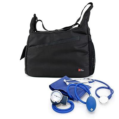 Nurse / GP / Doctor Medical Kit Bag -Black & Orange Shoulder 'Sling' Bag for Nursing / Home Visits Medical Supplies & Equipment -With Adjustable Interior Dividers – by DURAGADGET