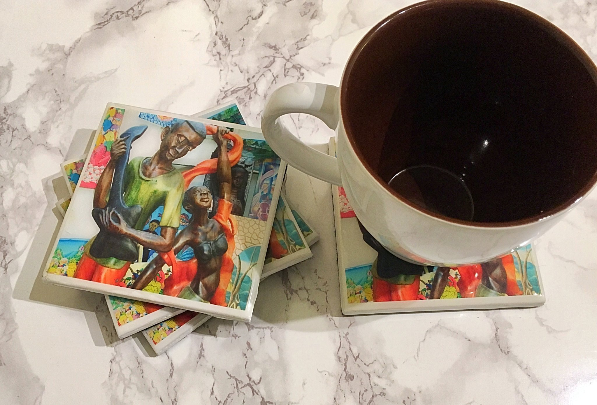 Lakay Treasures Coasters Set of 4 - Everything Gift, Housewarming Gift, Gift for Coworkers, Everyday Gift, Housewarming Gifts, Gift for Hostess, Birthday Gift, Coffee Tea Drinker, Wine Coasters
