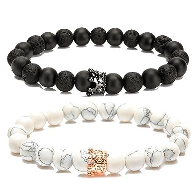 Amazon.com  LYLYMIMI Couples Bracelet for Men Women King and Queen  Bracelets with Crown Matte Lava Rock Stone (2 Pcs)  Jewelry 0781cd26fa
