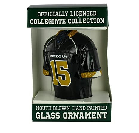 new style bede2 a7570 NCAA Missouri Tigers #15 Black Glass Football Jersey Ornament