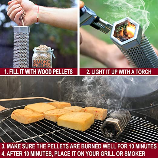 Chicken and Fish- Cold Smoke Cheese /& Nuts Smoke Beef Traeger grills- Makes Any Gri Great for Use With Pellet Grills Pork Smokincube Stainless Steel Wood Pellet Smoker Tube for Barbecue- 6 inch