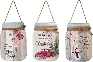 OSW Christmas Mason Jar Cut-Out Wall Signs, Wood and Galvanized Metal, Set of 3, Red Truck, Snowman, Christmas Ornaments Plaques for Farmhouse and Country Decor