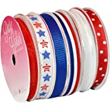Morex Ribbon 6-Pack Polyester/Nylon Sweet Petite Ribbon, Patriotic, 39-Yd