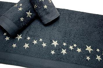 Juego de Toallas Bordadas Cuadros 3 piezas 550gr BIG STARS 3P. Nº14 (Antracita): Amazon.es: Hogar