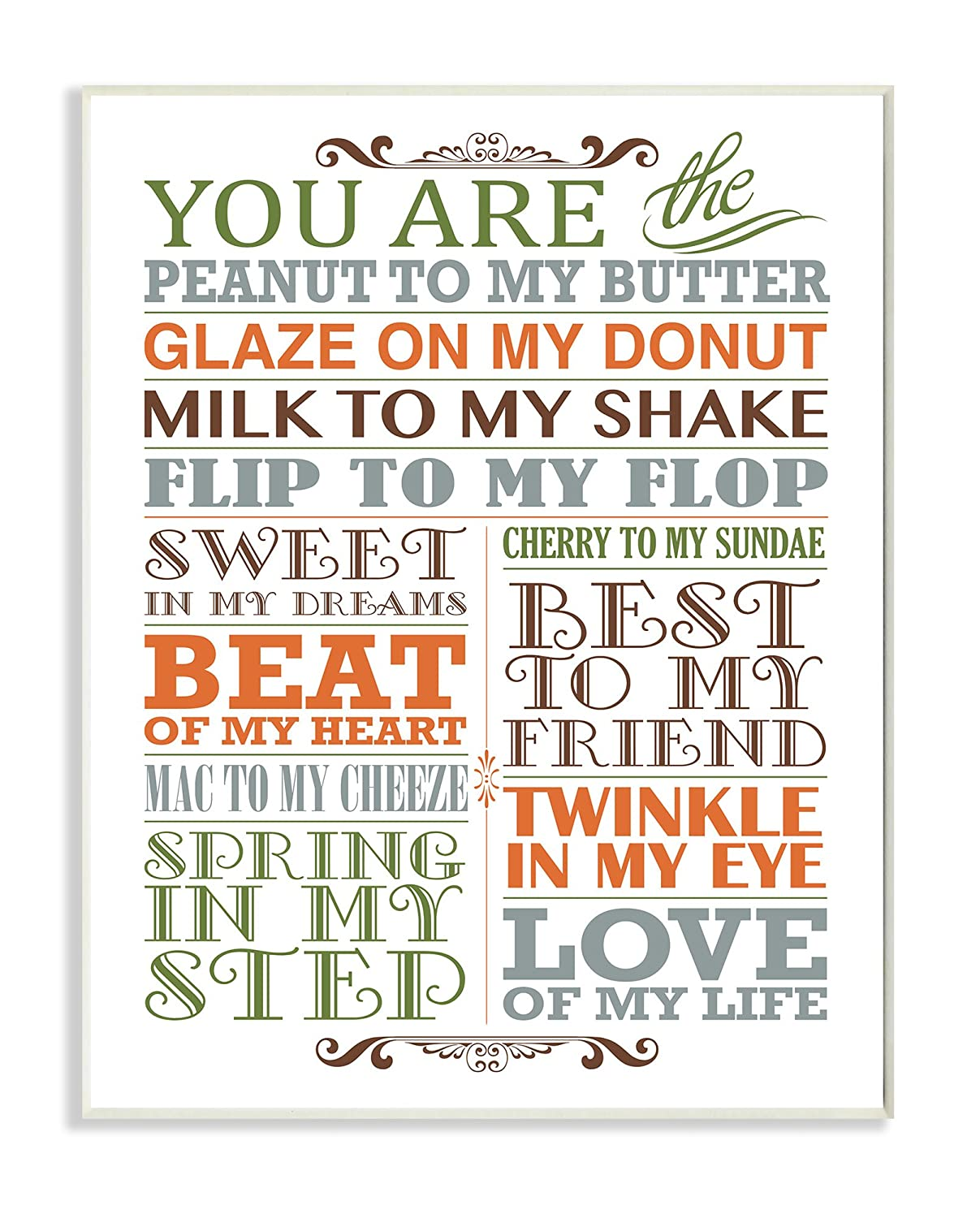 The Kids Room by Stupell You Are Peanut To My Butter Typography Art Wall Plaque 11 x 0.5 x 15 Proudly Made in USA Stupell Industries brp-1719