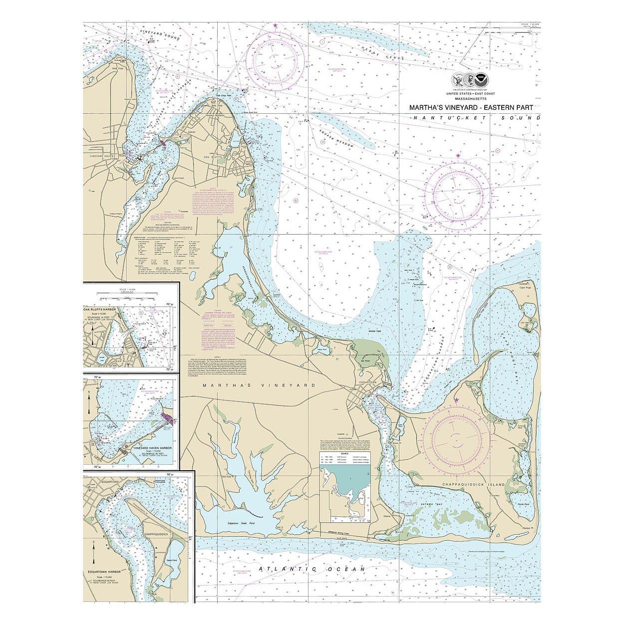 Martha 's Vineyard Nautical Chart Unframedビニールアート印刷 – Perfect for室内/室外。全天候型。 36X48 VINYL00853648 B076DKYBFN  36X48
