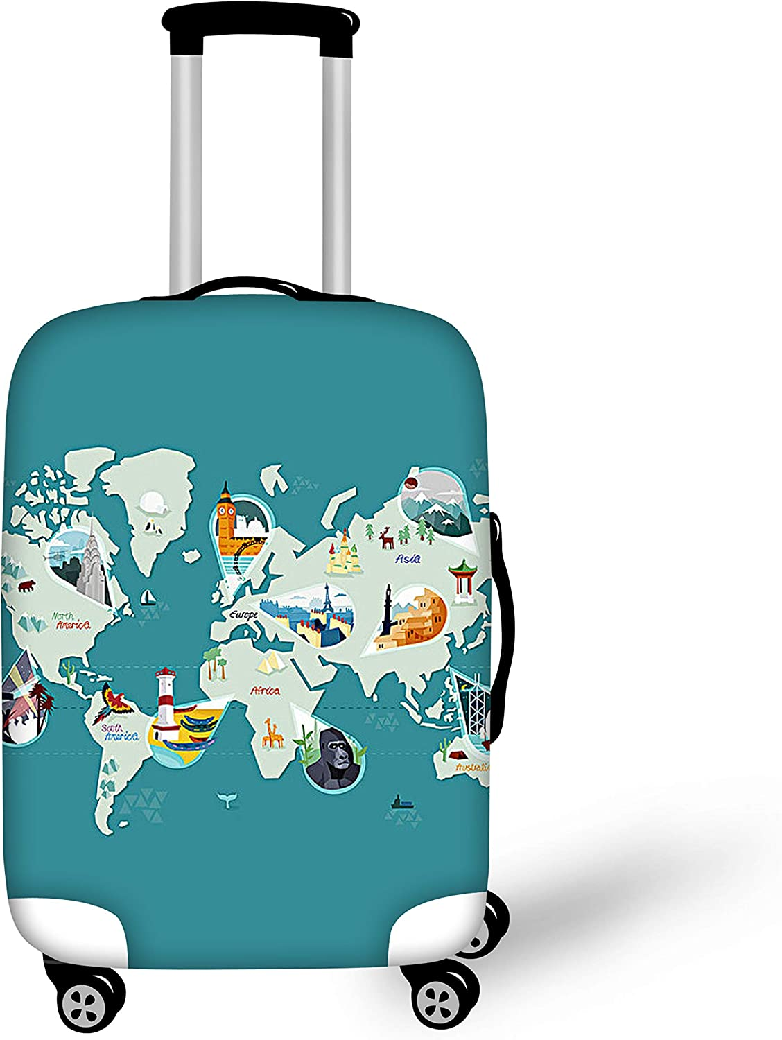 BIGCARJOB Travel Luggage Cover Protective Suitcase Covers Dust-Proof Washable Case Cat Printed Fit 26-28inch