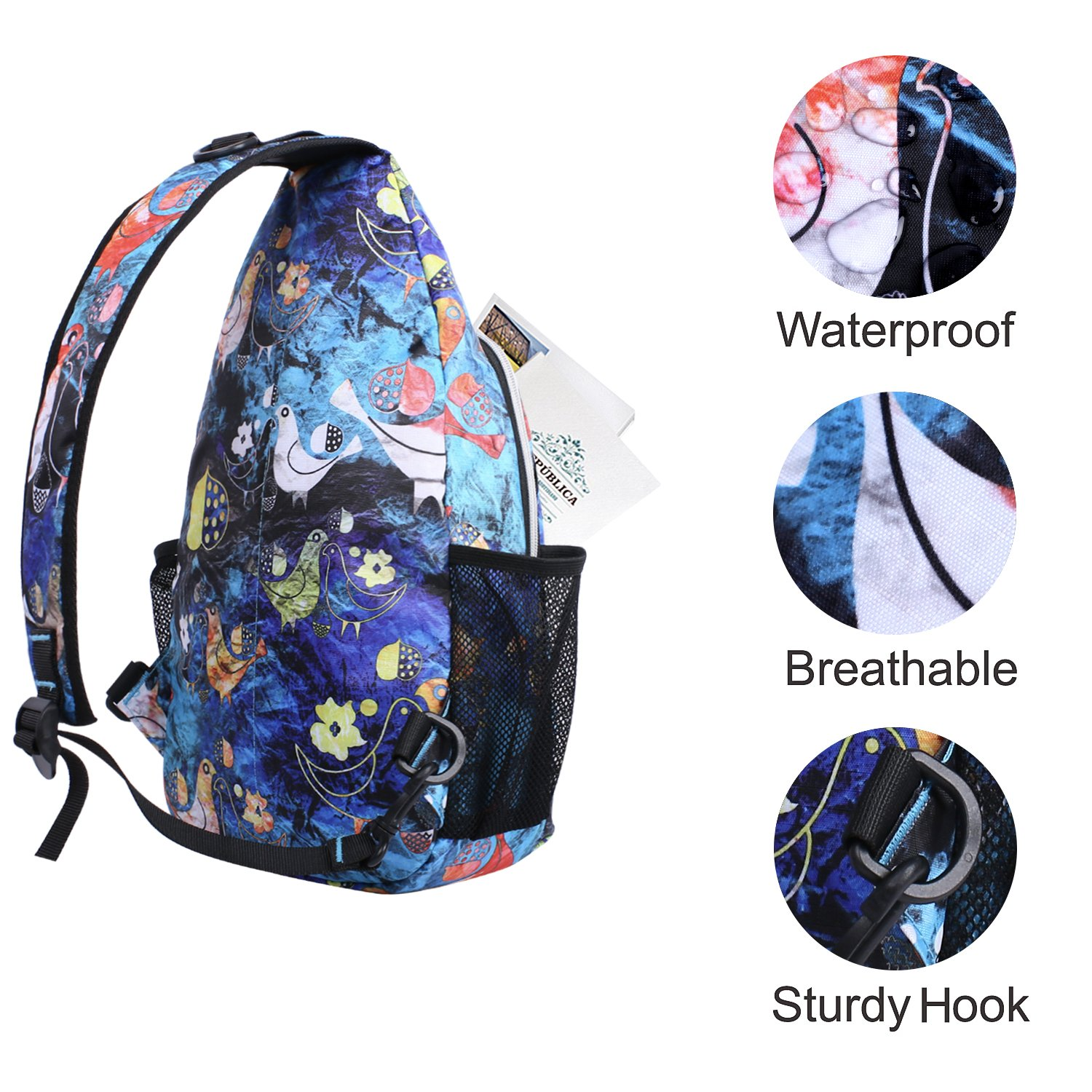 87419caa37d MOSISO Sling Bag, Polyester Water Repellent Durable Chest Shoulder  Unbalance Gym Fanny Lightweight Crossbody Sack Satchel Outdoor Hiking  Backpack for Men ...