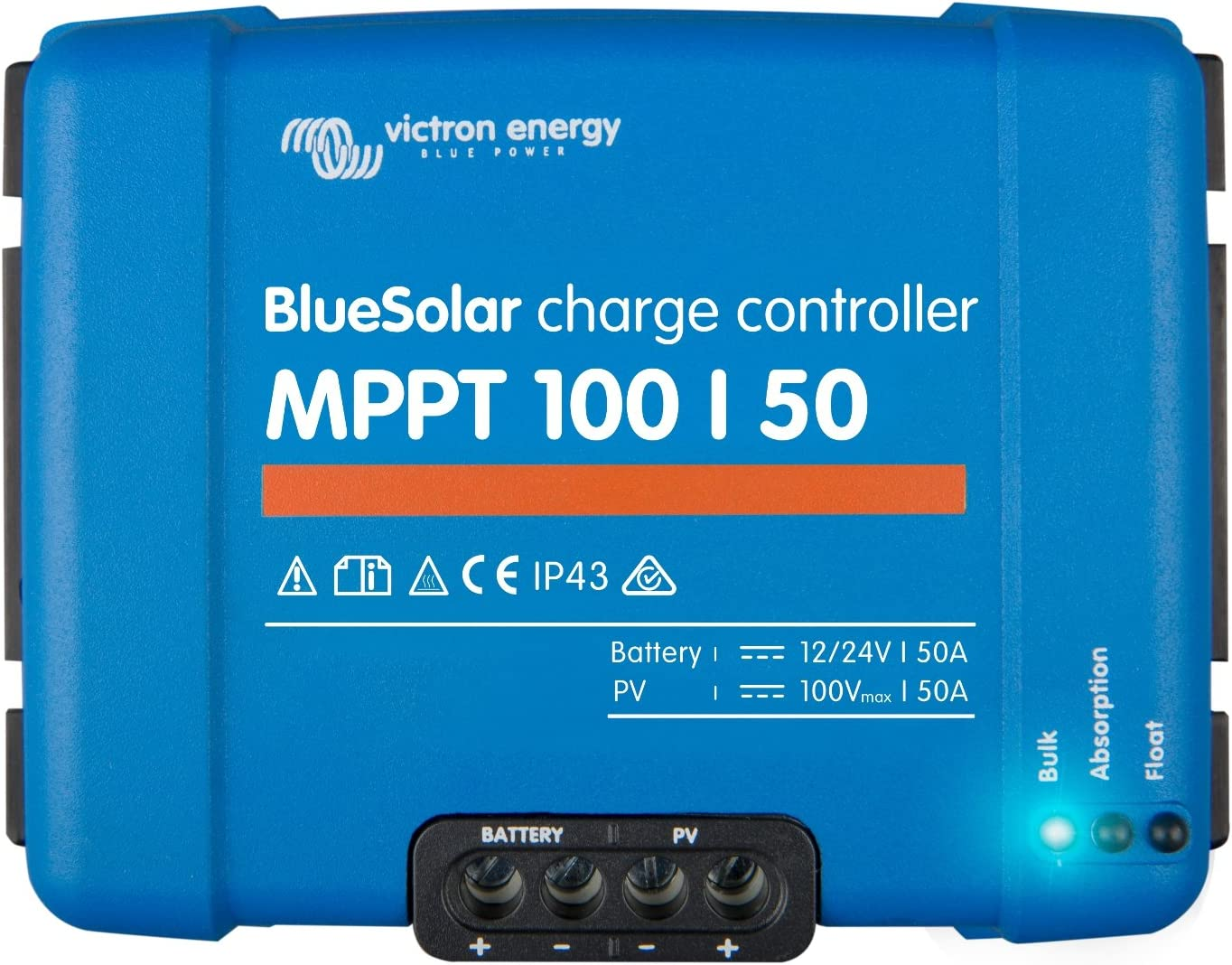 Victron BlueSolar MPPT 100/50 50A - Mando de carga solar para paneles solares de hasta 700 W (12 V) y 1400 W (24 V) hasta 100 V