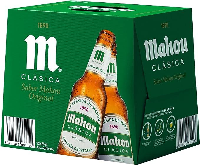 Mahou - Clásica Cerveza Dorada Lager, 4.8% de Volumen de Alcohol - Pack de 12 x 25 cl: Amazon.es: Alimentación y bebidas