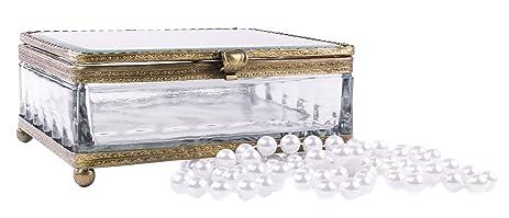 Amazoncom French Vintage Crystal Glass Jewelry Box Home Kitchen