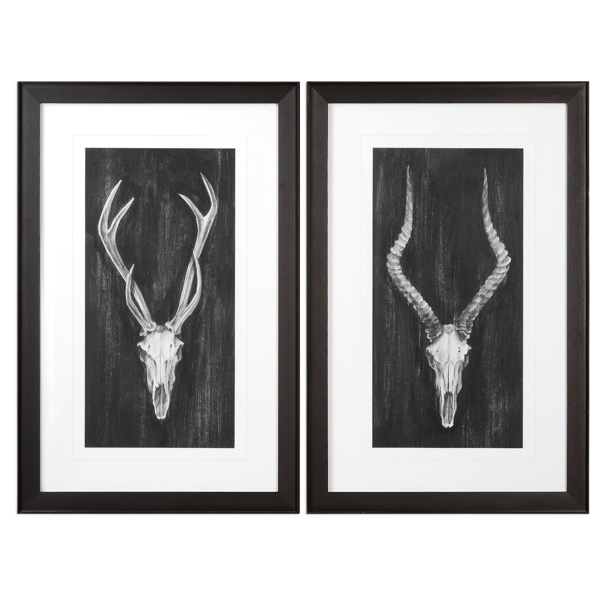 Rustic Lodge Vintage Style Deer Skull Wall Art Set | Hunting Trophy Black Gray Pair