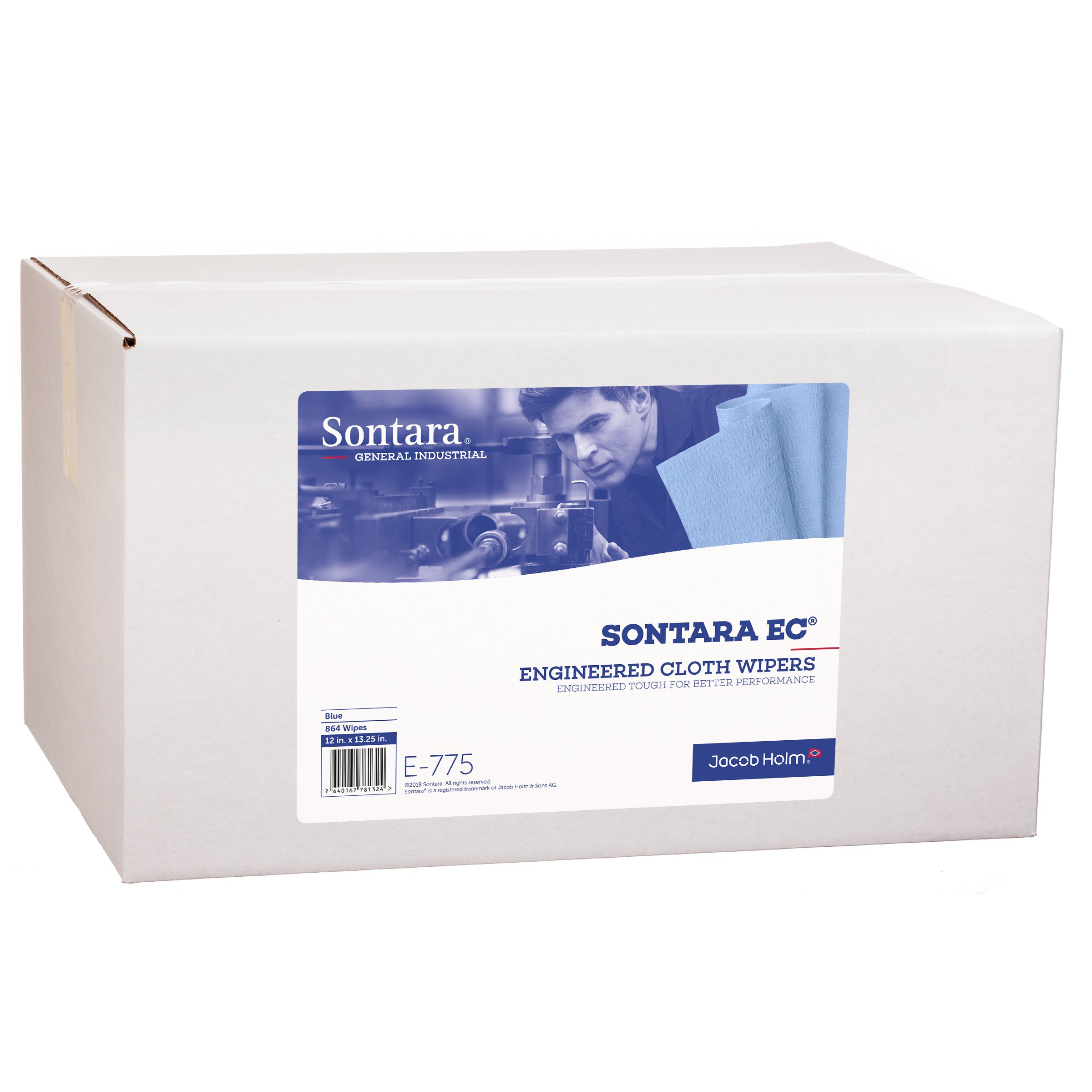 Sontara Engineered Cloth Wipers, E775, Blue, 12'' x 13.25'', (Total of 864 Wipes), (Case of 18 Packs, 48 Wipes Per Pack) by Sontara (Image #1)