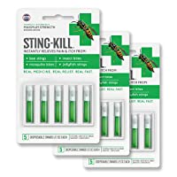 Sting-Kill First Aid Anesthetic Swabs, Instant Pain + Itch Relief From Bee Stings...