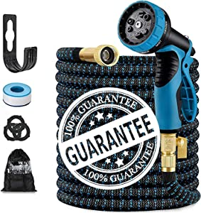 50FT Expandable Garden Hose, with 10 Function Nozzle, Leakproof Lightweight Retractable Water Hose with 3/4