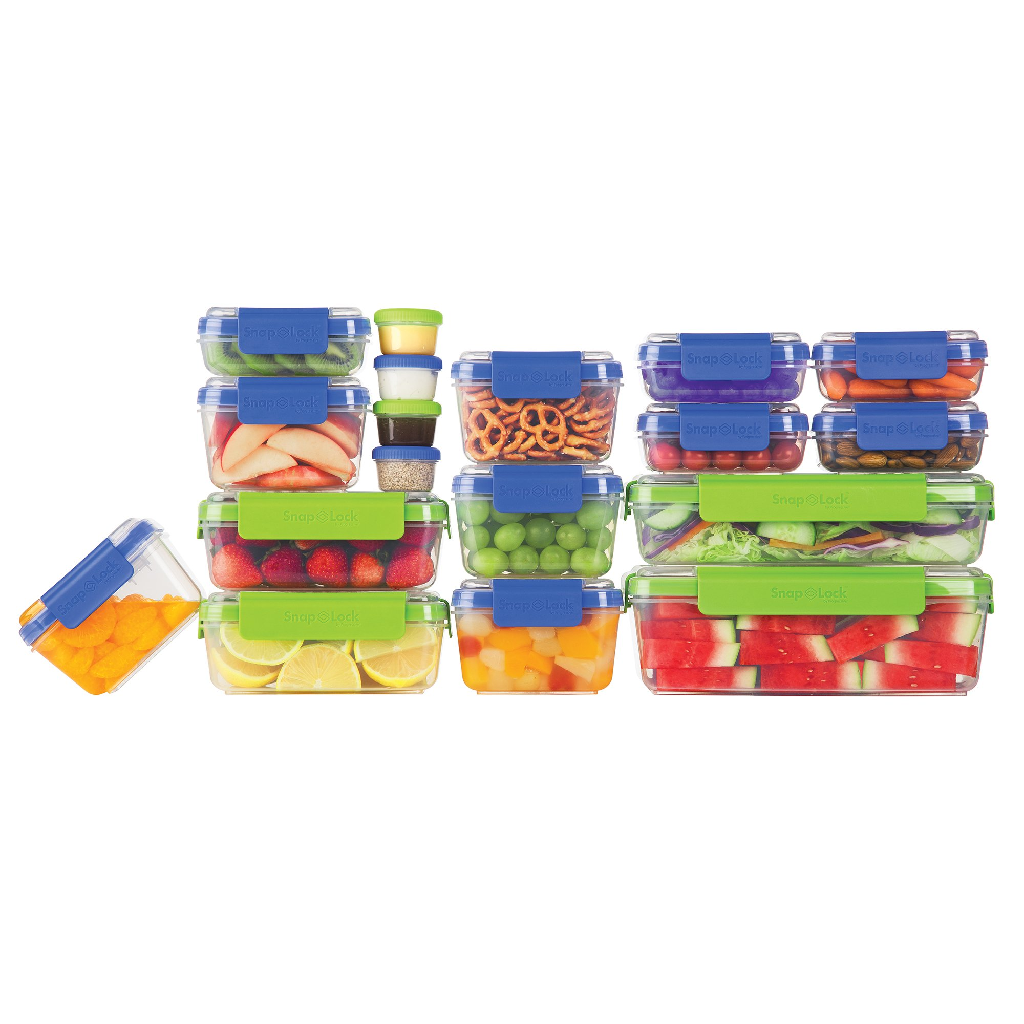 SnapLock by Progressive 36-Piece Container Set, Multicolored SNL-36SET Easy-To-Open, Leak-Proof Seal, Stackable, BPA FREE, All with lids