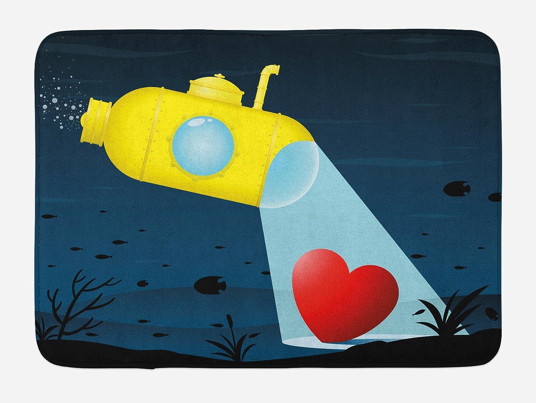 Ambesonne Yellow Submarine Bath Mat, Illustration of a Underwater Submarine Finding a Heart Romance Image, Plush Bathroom Decor Mat with Non Slip Backing, 29.5 W X 17.5 W Inches, Yellow Dark Blue bath_22931