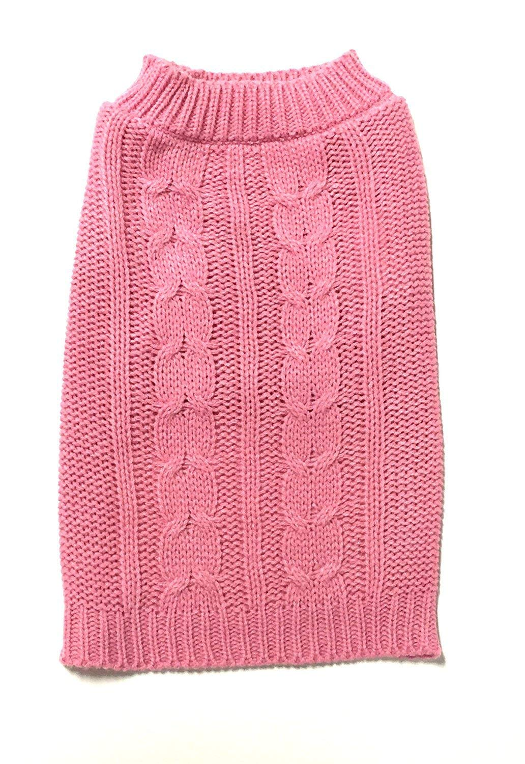 Midlee Cable Knit Dog Sweater by (XX-Large, Pink)