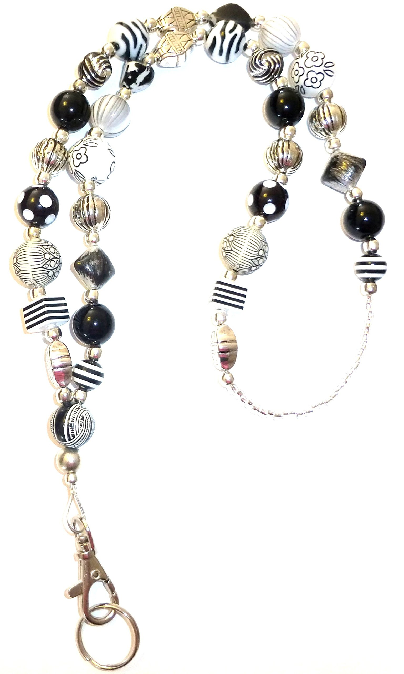 Hidden Hollow Beads   Women's Fashion Lanyard and Badge holder 34'' Lanyard    (Chunky Black and White Non Breakaway)
