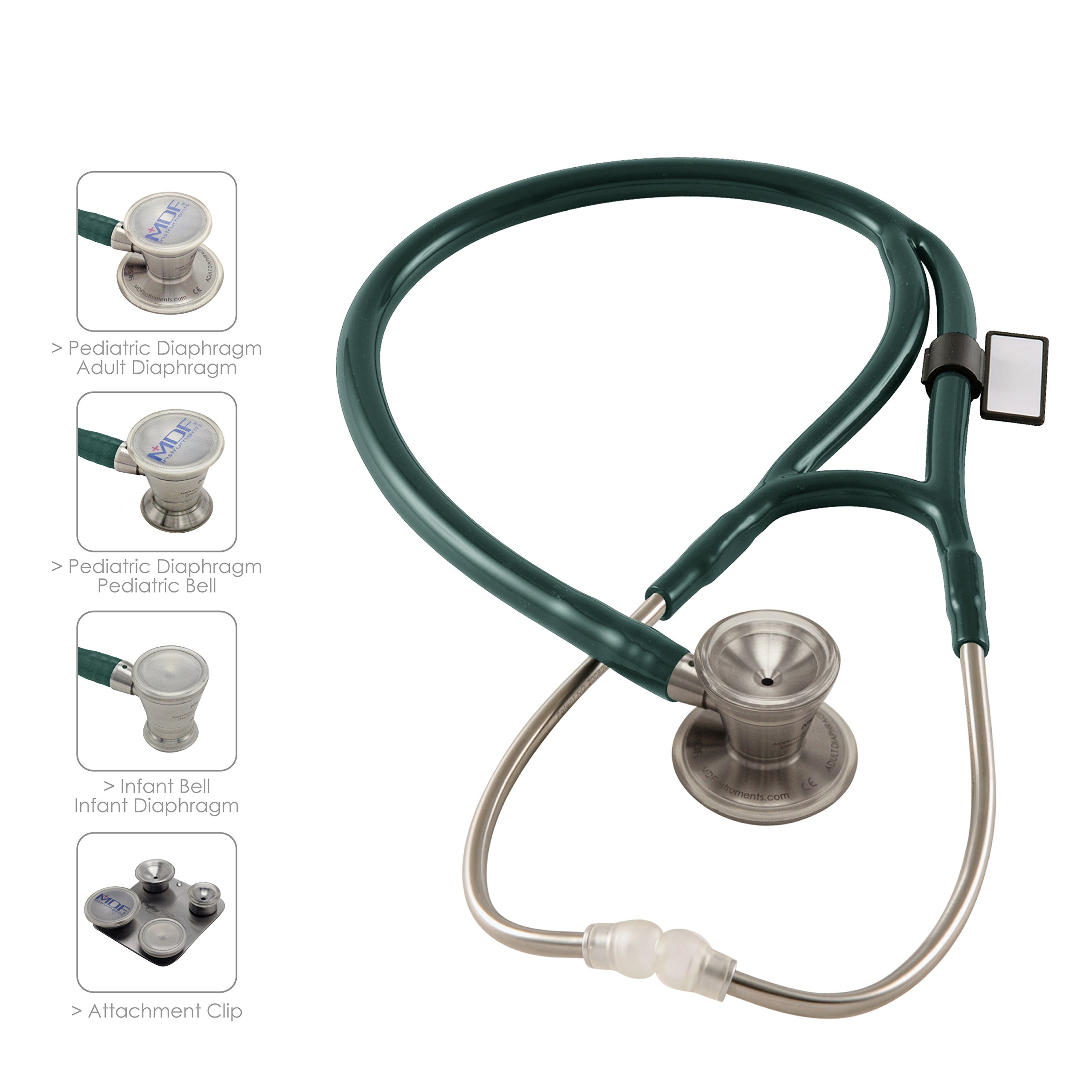 MDF ProCardial C3 Cardiology Stainless Steel Dual Head Stethoscope with Adult, Pediatric, and Infant-Neonatal convertible chestpiece - Emerald Green (MDF797CC-21)