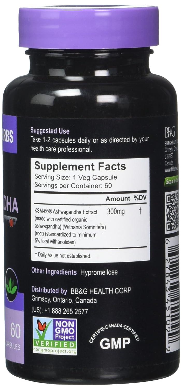 Premium Grade Ashwagandha (KSM- 66) - Certificado Orgánico y No -GMO - 5 % withanólidos: Amazon.es: Salud y cuidado personal