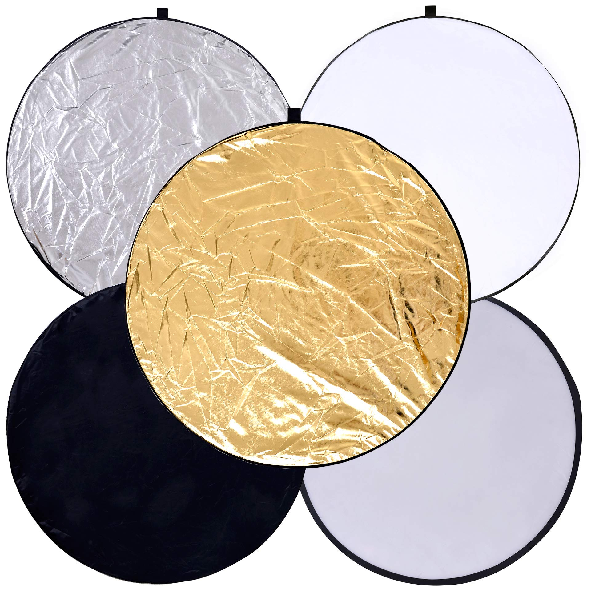 Round 24-inch / 60cm 5-in-1 Portable Collapsible Multi Disc Light Reflector Photography with Bag for Studio or Any Photography Situation-Silver, Gold, White, Translucent and Black by GINNOR