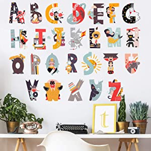 Creative Alphabet Kids Wall Stickers Unique Cartoon ABC Letters Wall Decals, LASZOLA Bright and Colourful Removable Nursery Decor Art Murals Paper Decoration for Kids Kindergarten (Version 1)